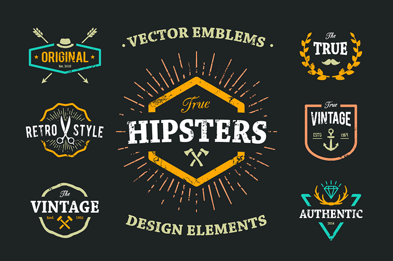 png free library True set . Hipster vector