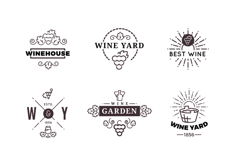 banner download Making grape labels logos. Hipster vector wine