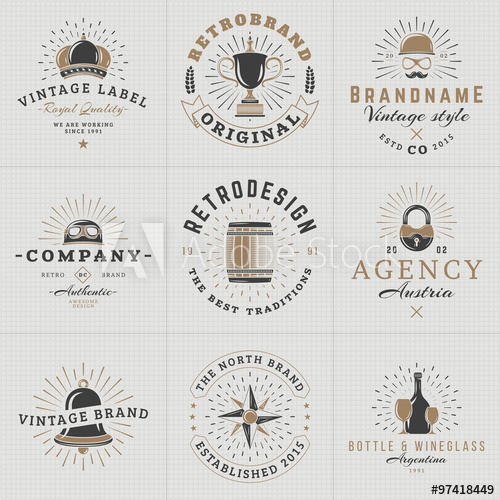 graphic stock Hipster vector wine. Set of vintage labels