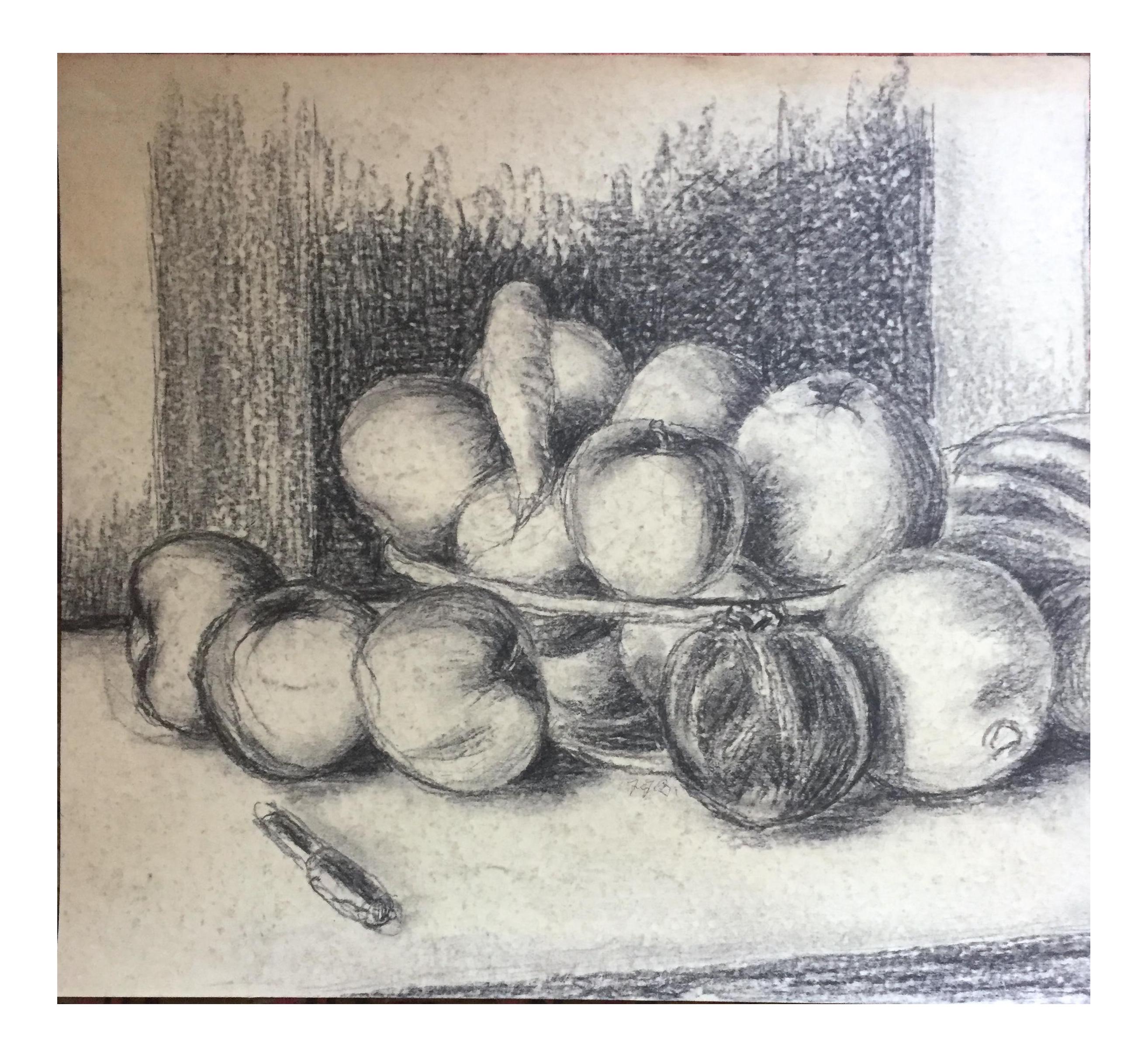 jpg download Bowl of plenty chairish. Drawing charcoal still life