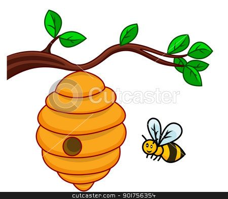 vector free library Hive clipart. Bee clip art illustration.