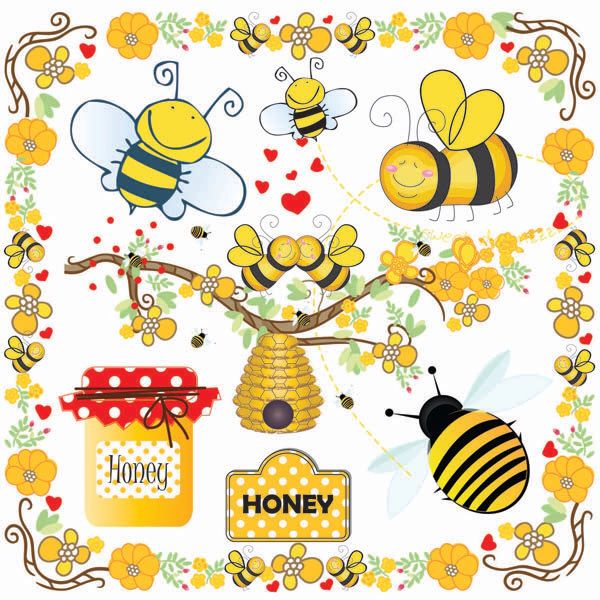 vector free library Hive clipart border. Bees clip art bumble
