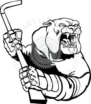 graphic black and white download Bulldog holding stick . Hockey clipart mascot.
