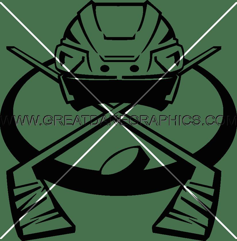svg freeuse library Hockey Helmet With Sticks