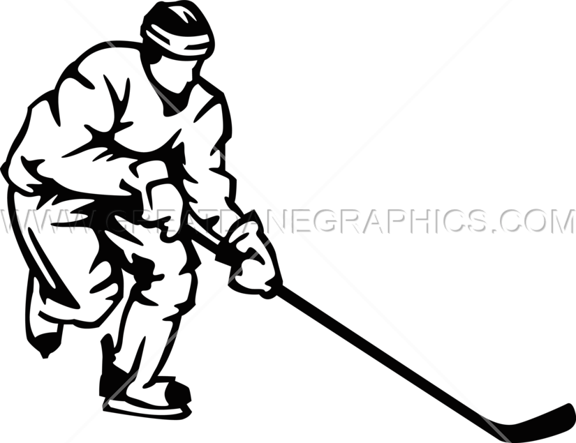 clipart transparent stock Production ready artwork for. Hockey player clipart black and white