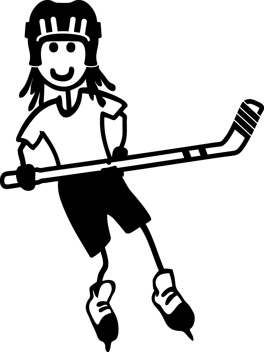 png free stock Hockey player clipart black and white. Girl stick female child