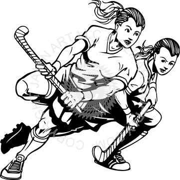 svg free download Girl field players . Hockey player clipart black and white
