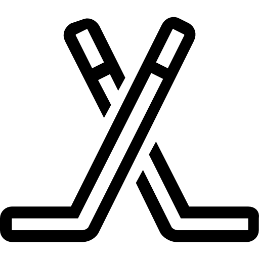 picture royalty free Two hockey sticks outline