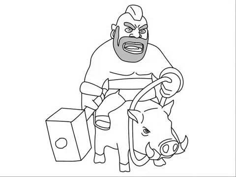 svg black and white download How to draw clash. Hog drawing rider
