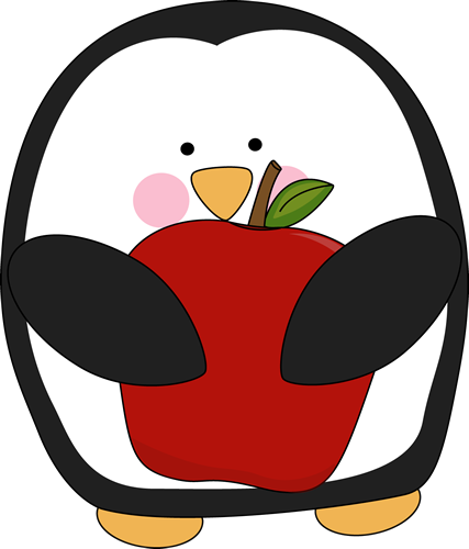 clipart download Penguin Holding an Apple