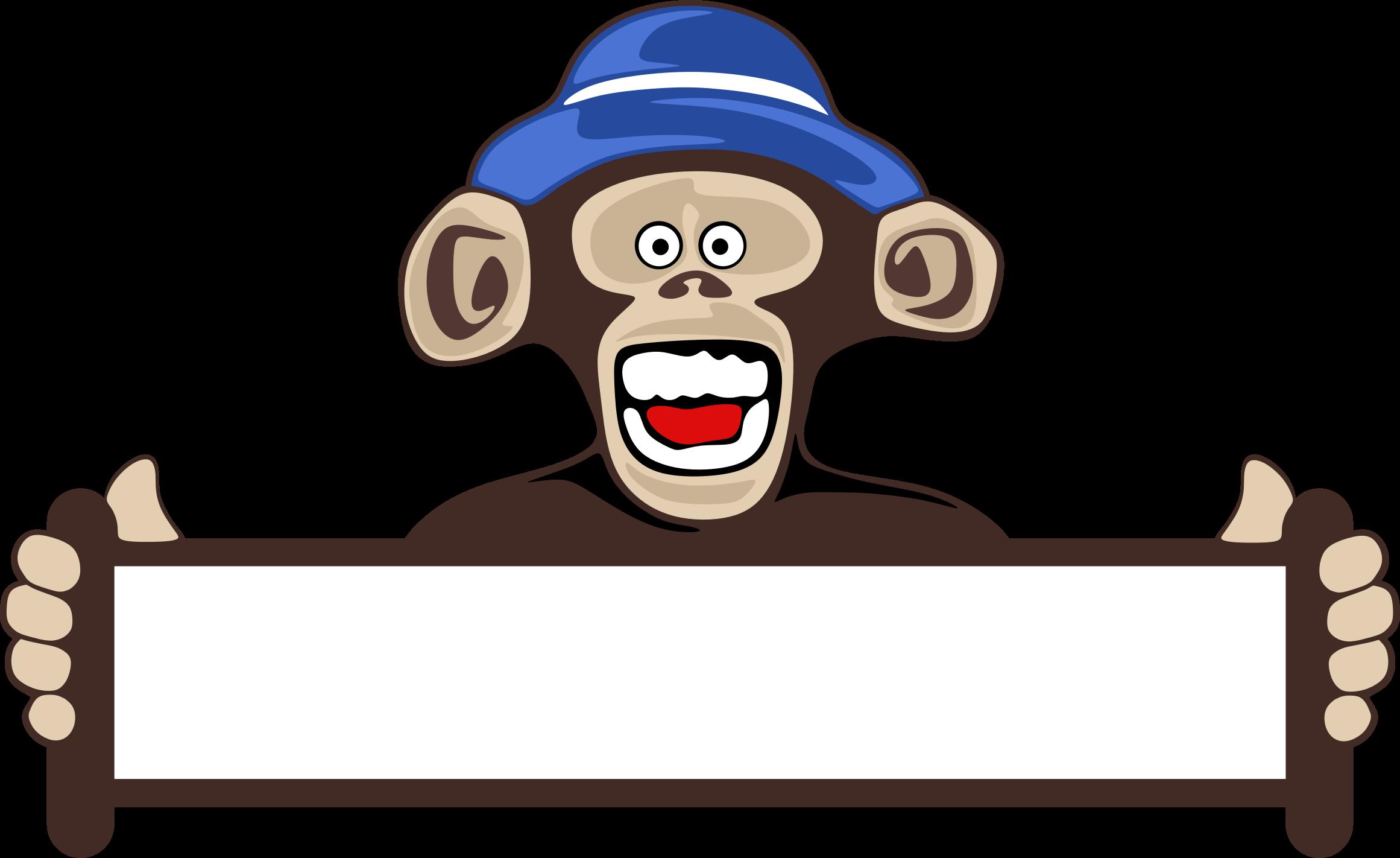transparent stock Monkey holding blank sign. Ape clipart svg