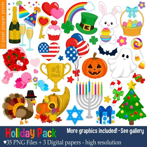 clipart black and white Holidays clipart. Holiday pack clip art.