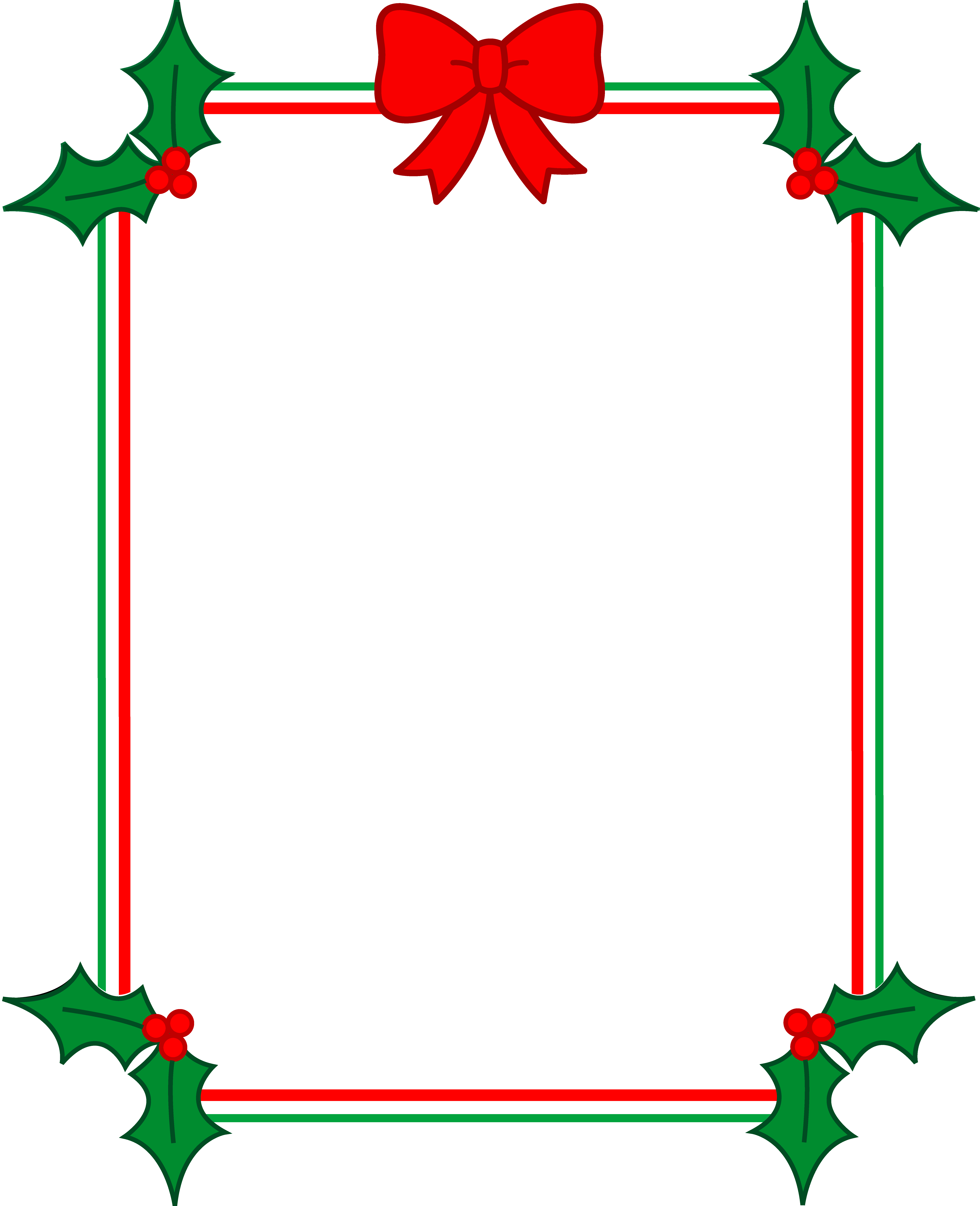 graphic transparent library Christmas Border With Holly and Ribbon