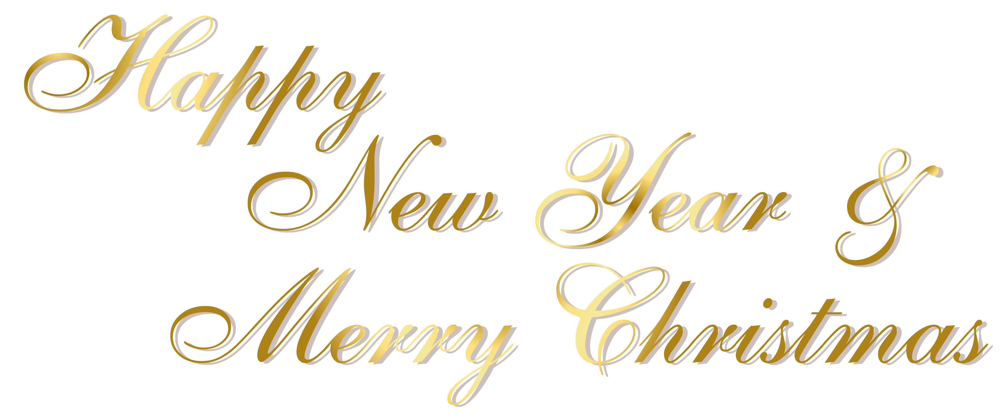 free Gold and merry christmas. Free happy new year clipart