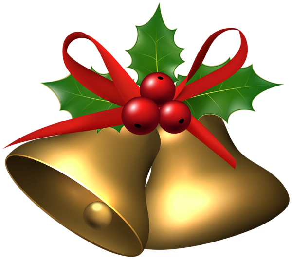 clip royalty free library Holly clipart. Large christmas bells with.