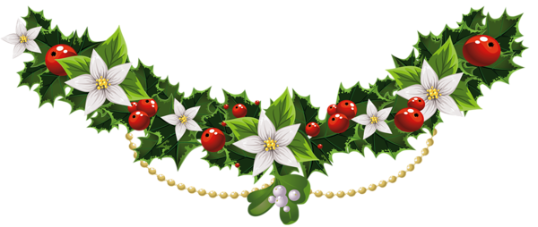 image library library Transparent Christmas Mistletoe Garland with Flowers PNG Clipart