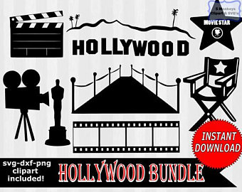 clip black and white download Hollywood clipart. Etsy .
