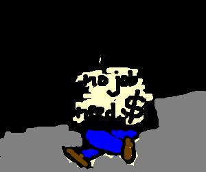 jpg freeuse Homeless guy begging for money drawing by Melanie