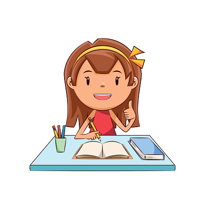 graphic royalty free library Free girl doing collection. Homework clipart