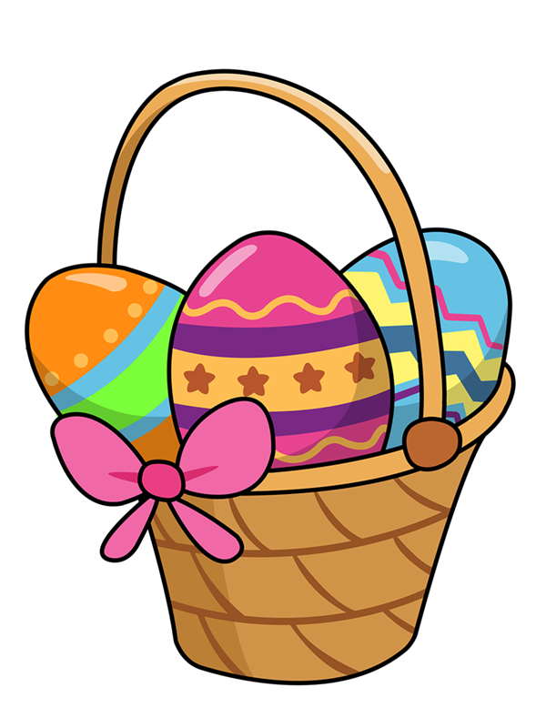 png black and white library Easter baskets clip art image