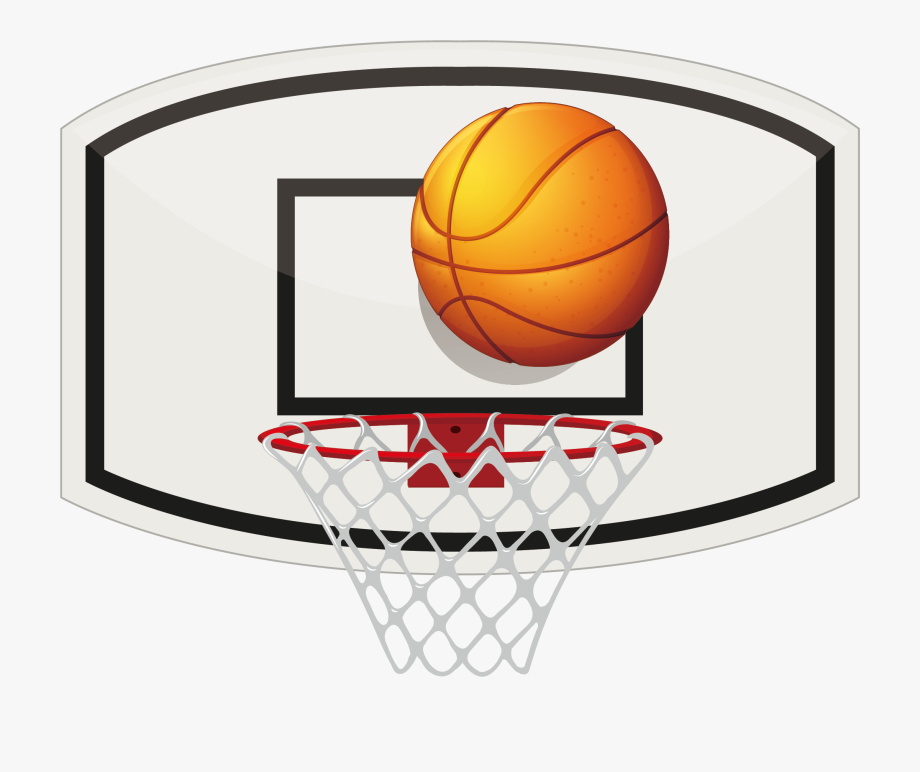 library Hoop clipart. Basketball and ball net.