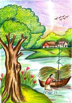 banner library stock Drawing topic nature. I am aparna s