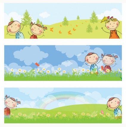 picture Kids banners school vector. Horizontal clipart preschool