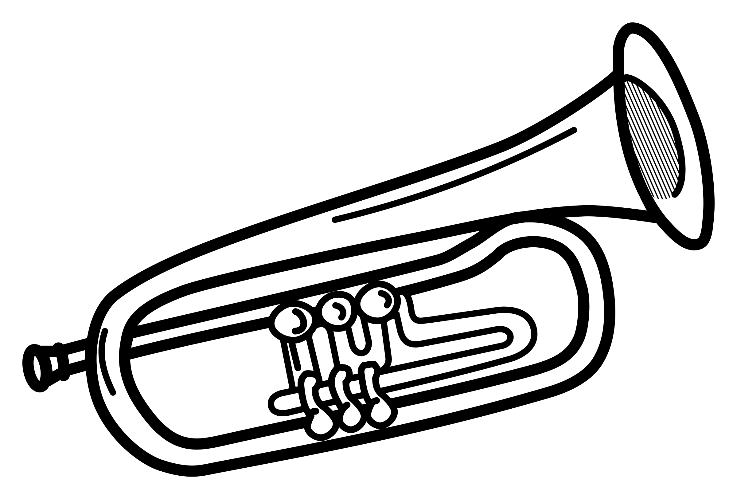 clipart black and white download Trumpet lineart big image. Musical instruments clipart black and white