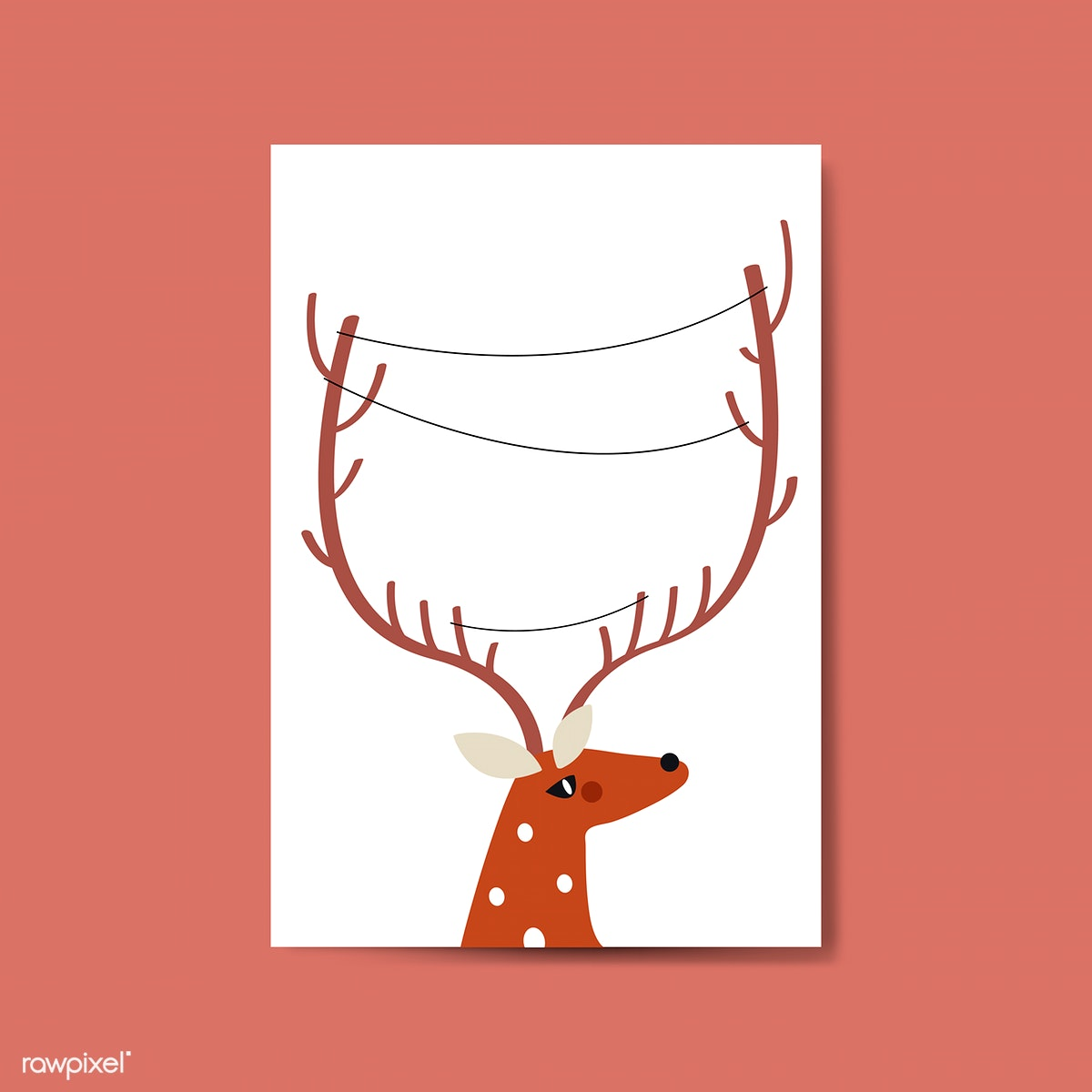 image library library Reindeer head with lines. Horn vector.