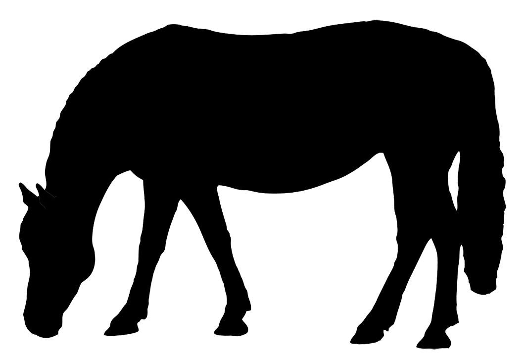 vector free download Horse silhouette black grazing. Horses clipart