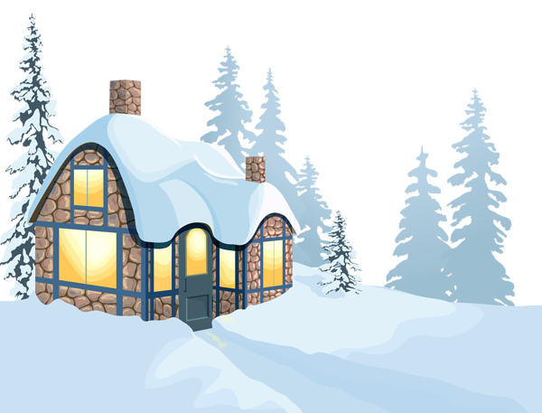 svg stock Winter House and Snow PNG Clipart Image