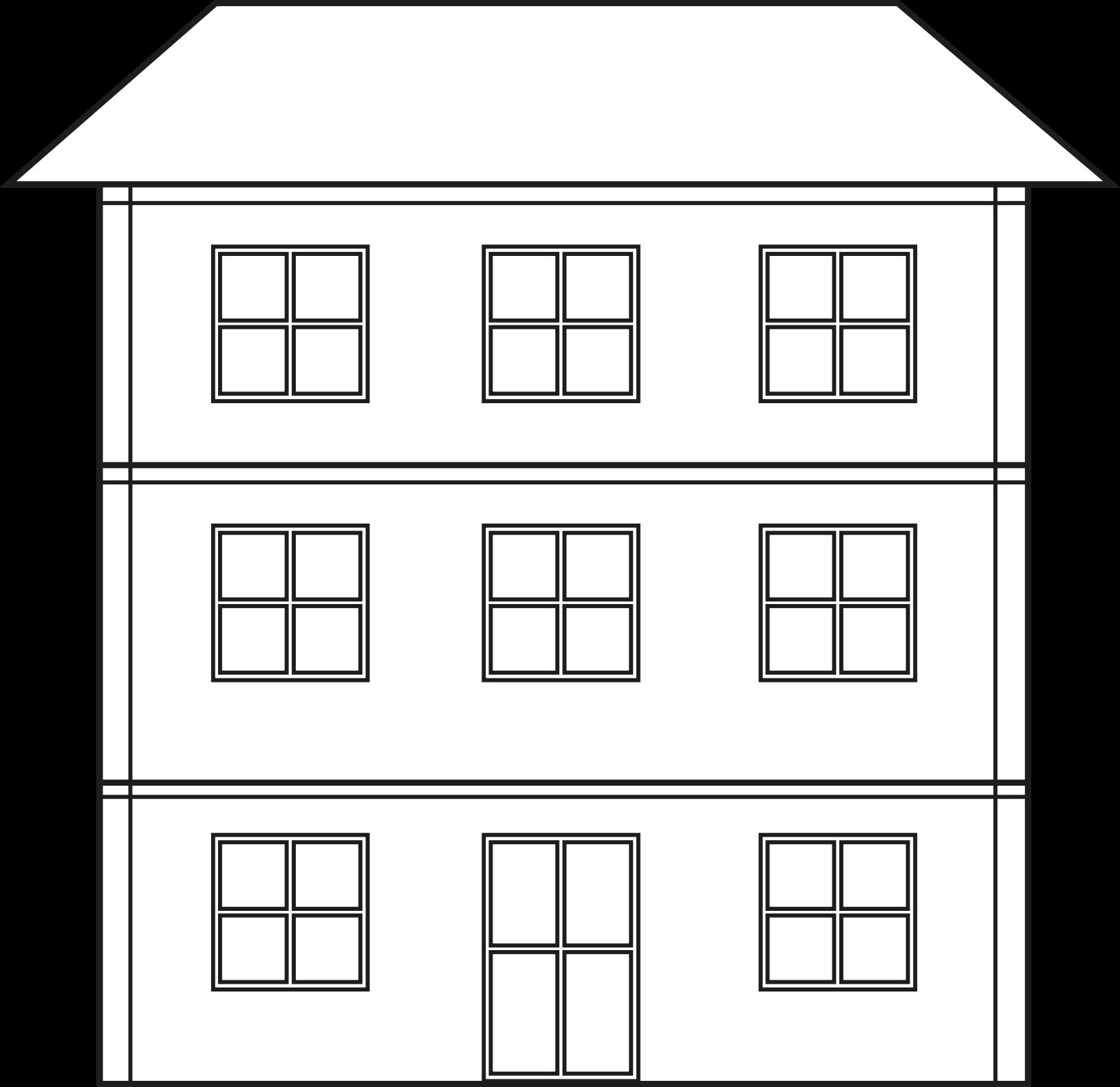 picture transparent Building clipart black and white. Png house transparent big
