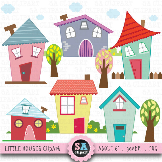 banner free library Houses clipart. Little digital clip art.