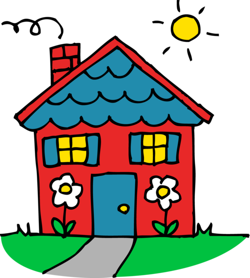 jpg black and white Cute Red and Blue House Clipart