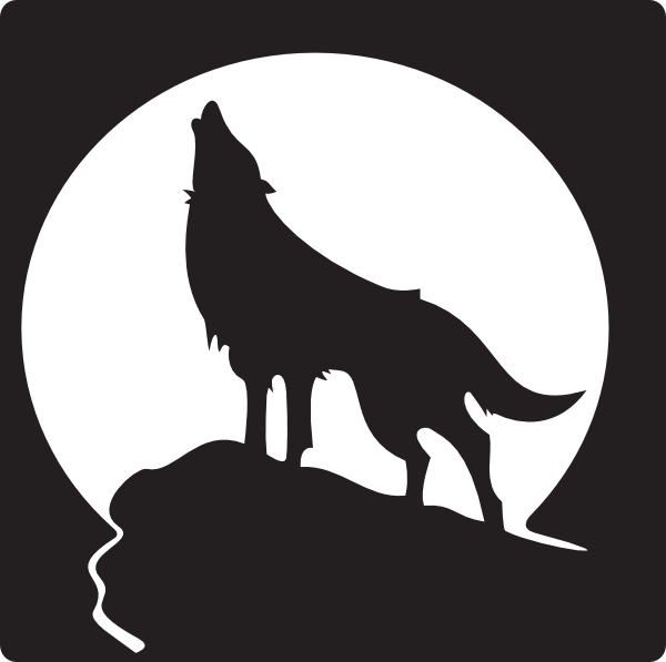 banner black and white library Free clip art wolves. Mountains clipart wolf.
