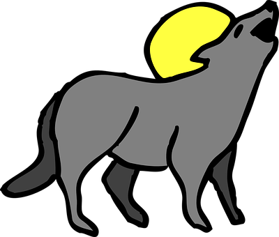graphic free Howling clipart. Coyote moon free on.