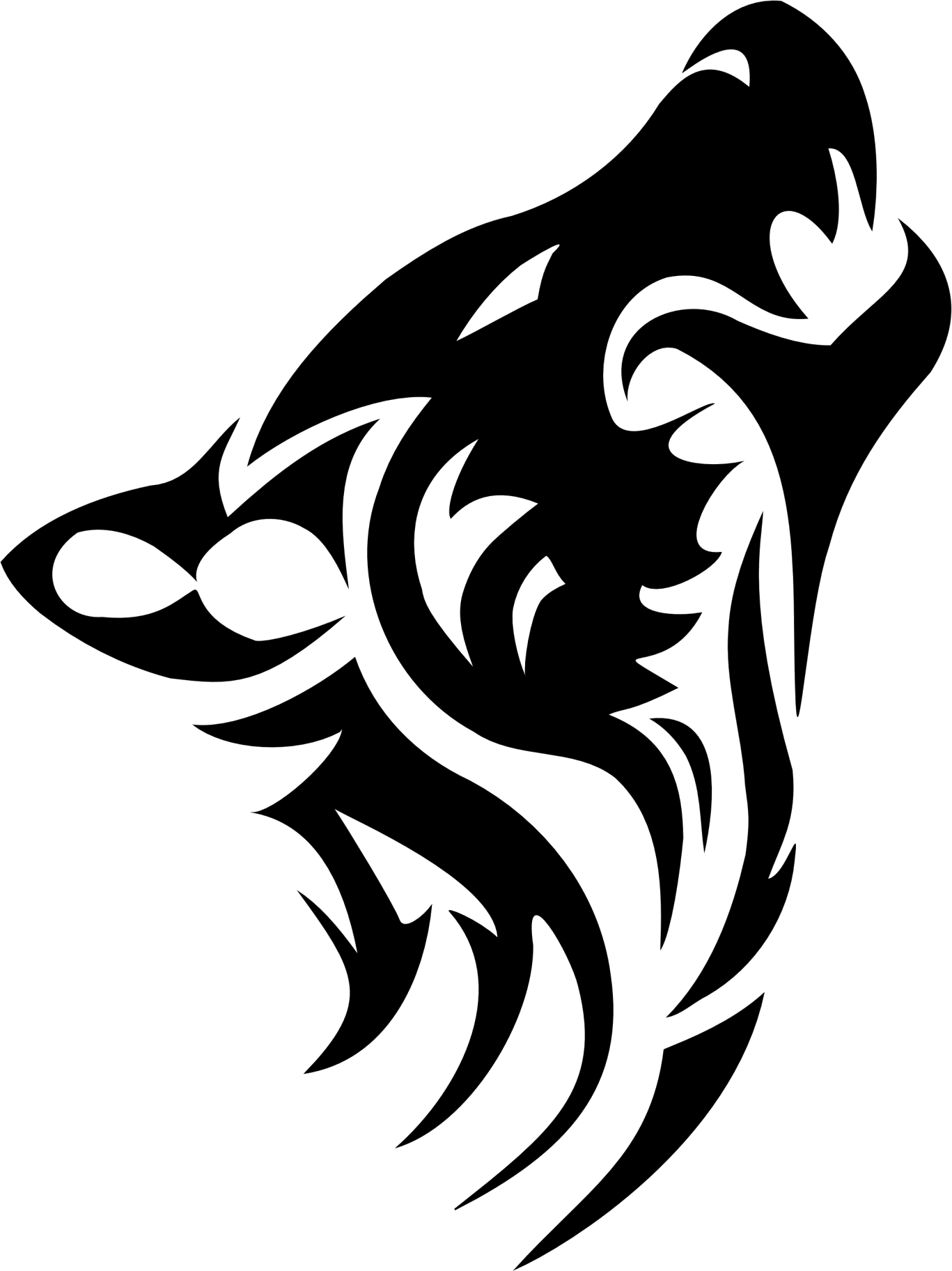 clip library download Howling tribal wolf head. Sprout drawing tattoo