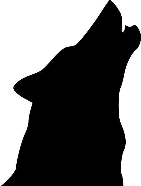 svg freeuse stock Drawing silhouette black and white. A howling wolf with