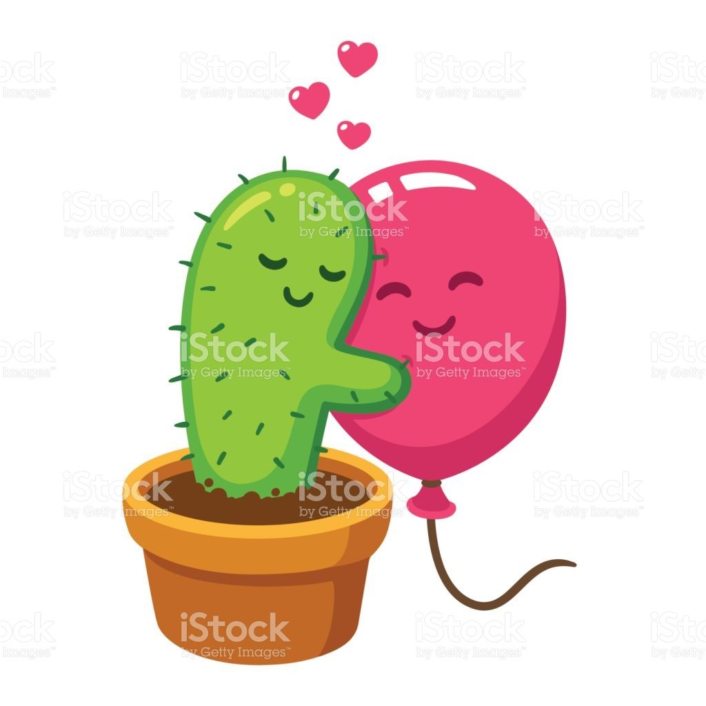 picture freeuse stock Hug vector. Cute cartoon cactus and