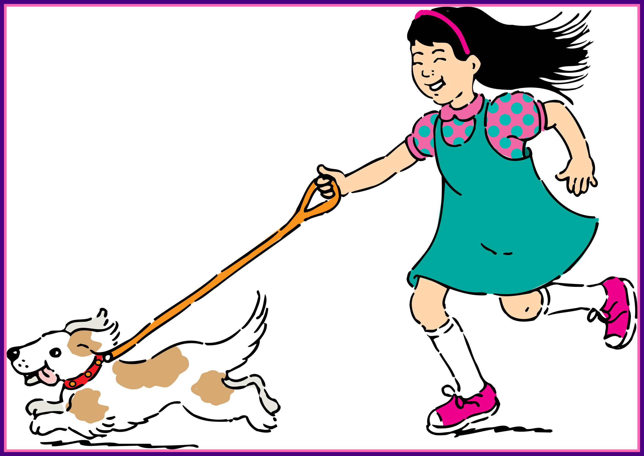 image freeuse library Woman walking clipart. Fascinating dog for cartoon