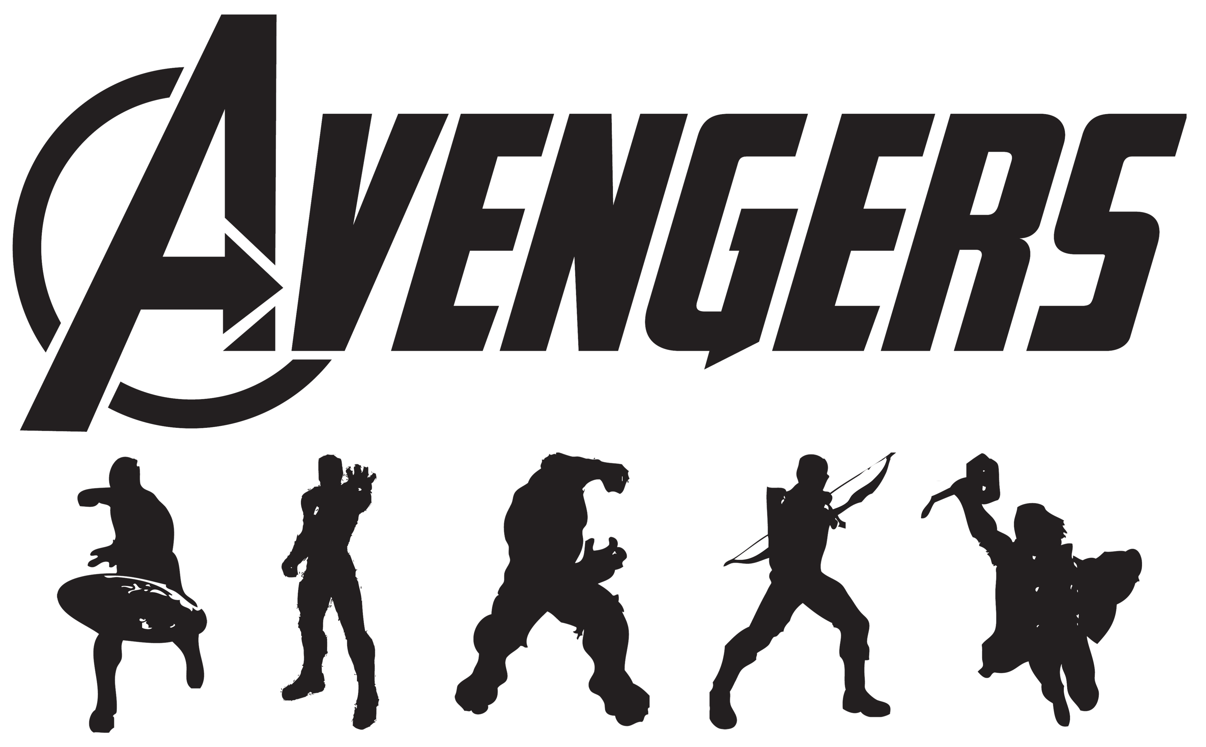 picture library library Hulk clipart black and white. Thor avengers logo the