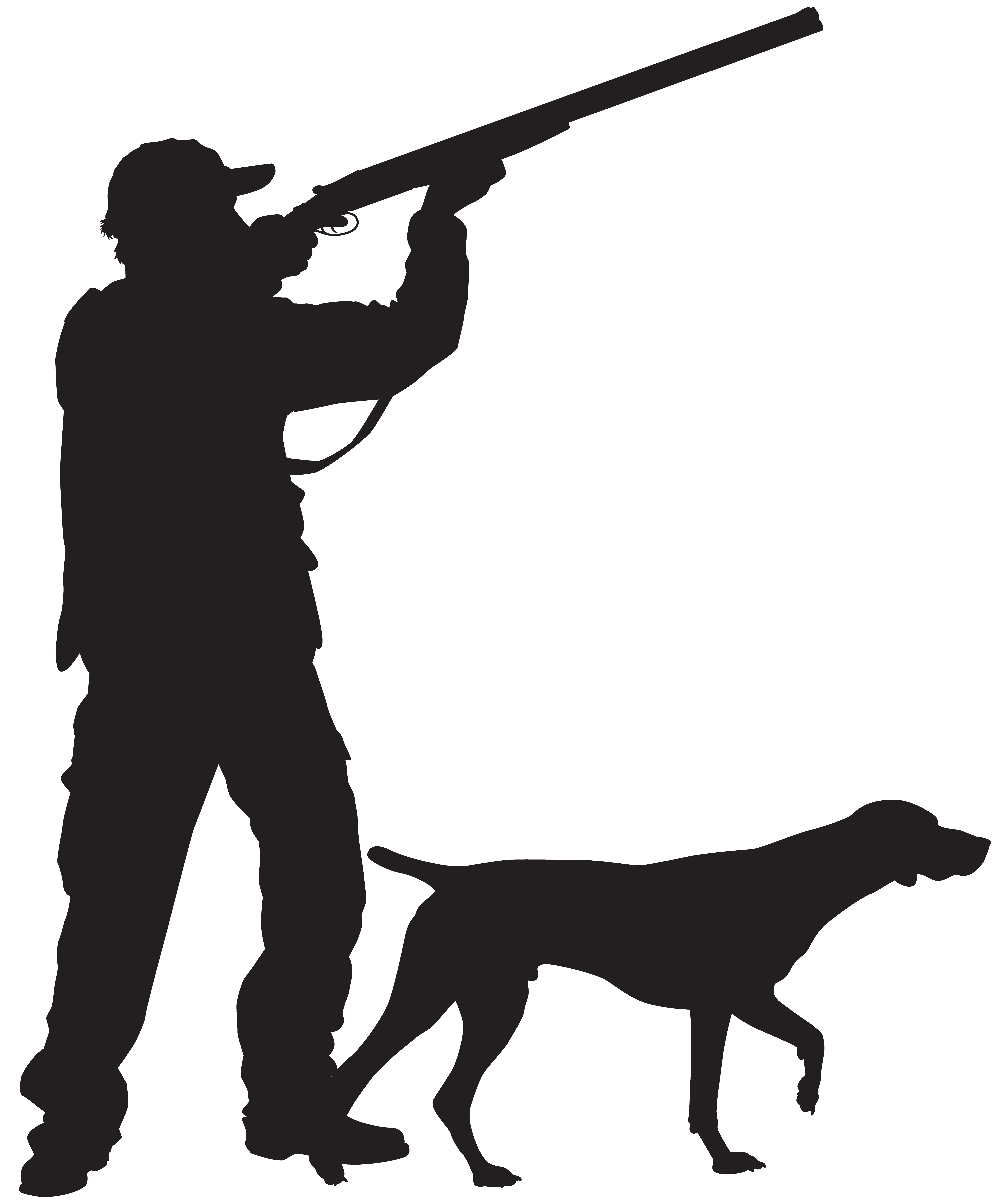 svg library Hunter with dog silhouette. Hunting clipart.