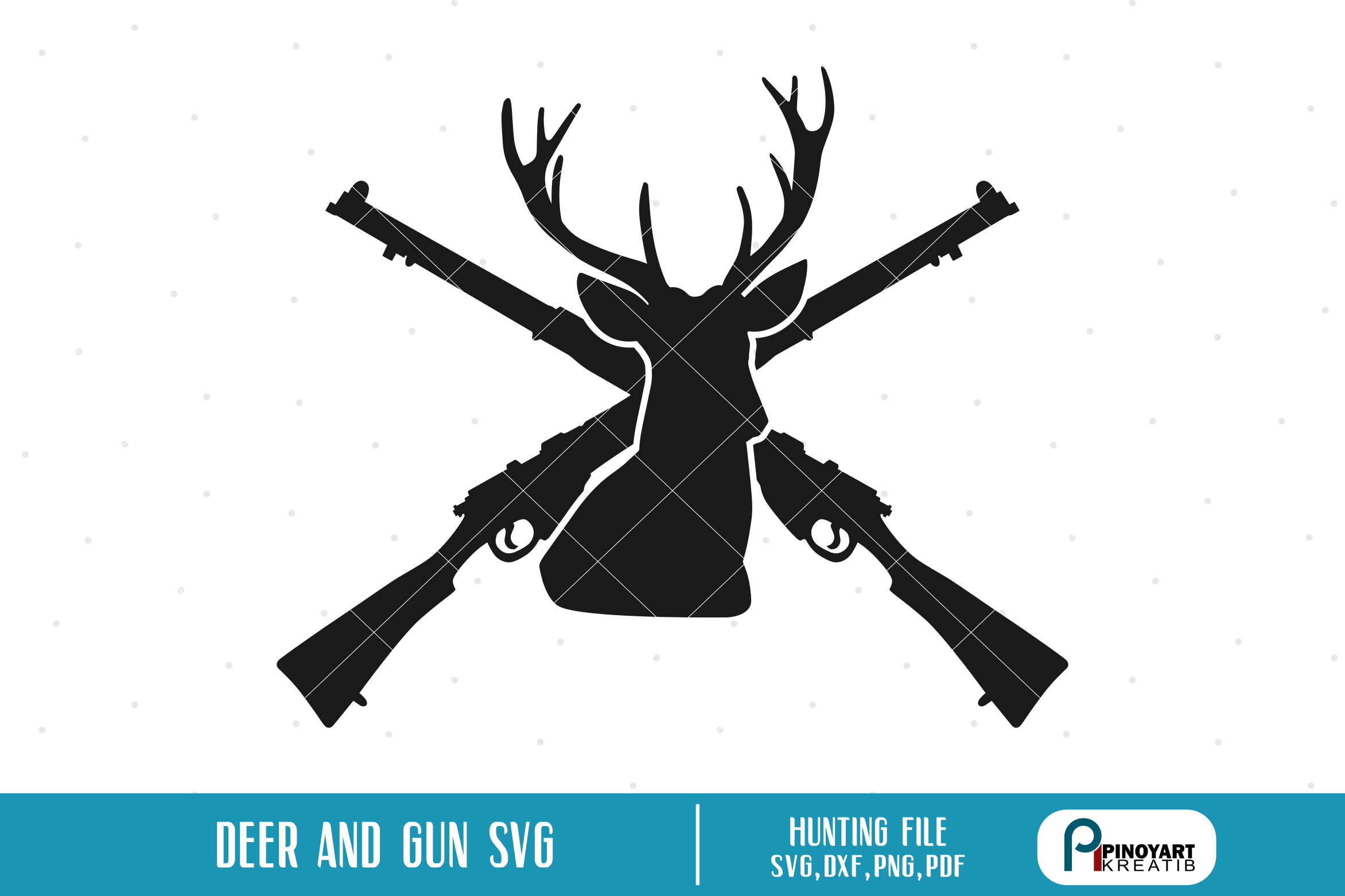 clipart freeuse library Hunting vector. Deer and cross rifle