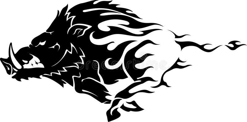 graphic transparent download Boar vector stencil. Stock de wild flame