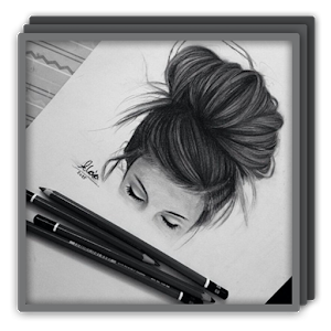 graphic stock Realistic hair android apps. Drawing inspirations hyperrealism