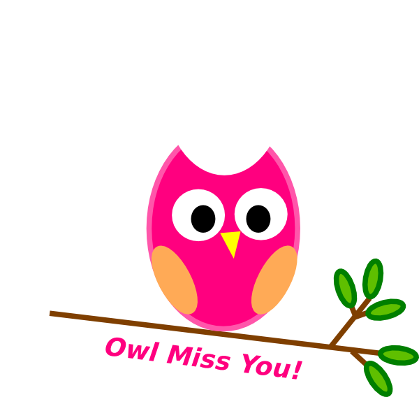 banner black and white library Owl Miss You Clip Art at Clker