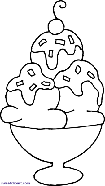 png download  collection of high. Ice cream sundae clipart black and white