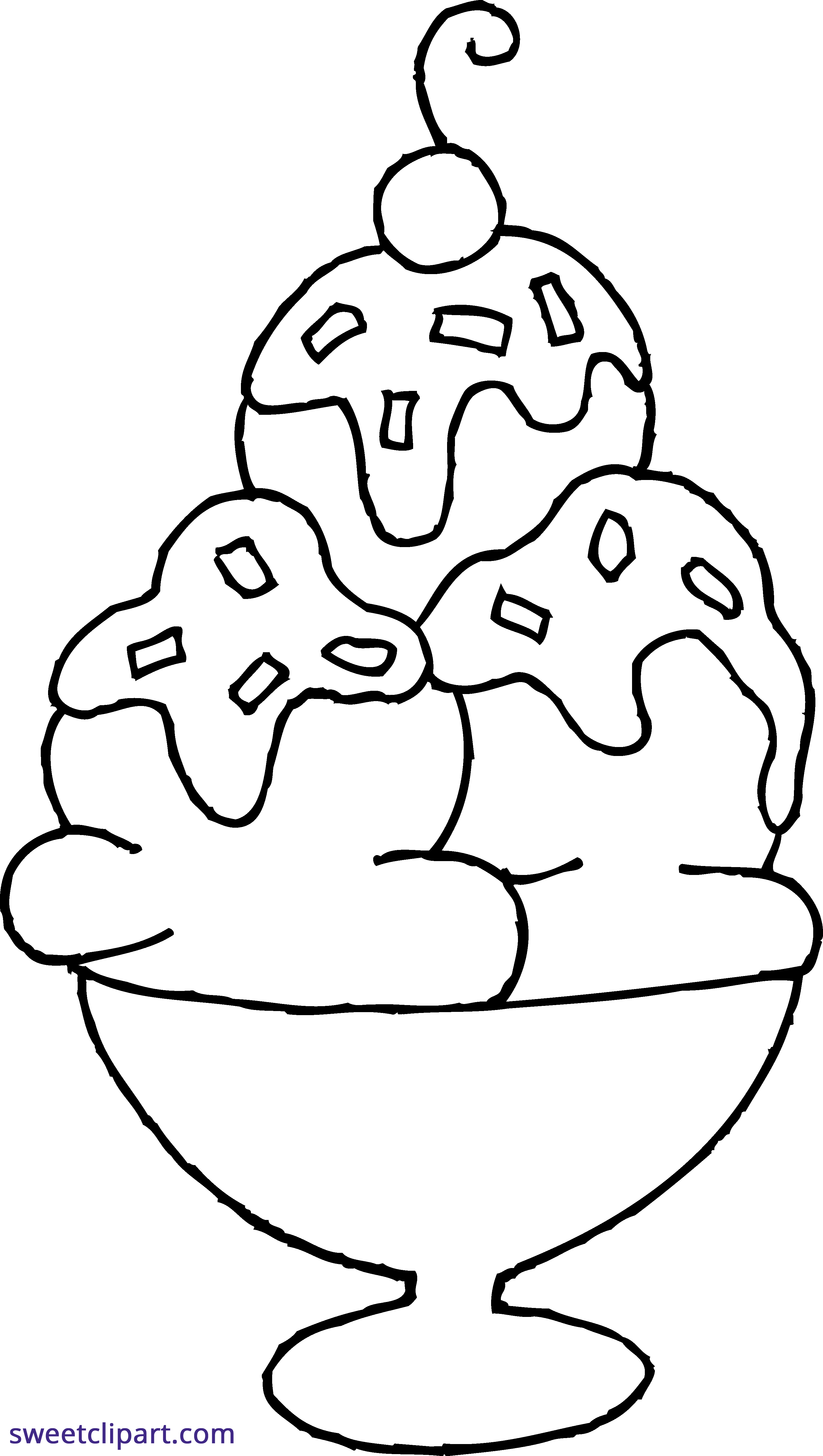 vector free stock Coloring page sweet clip. Ice cream sundae clipart black and white