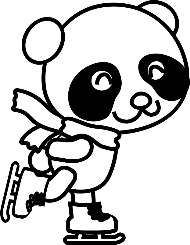 clip transparent stock Ice skate clipart black and white. Skating panda coloring page