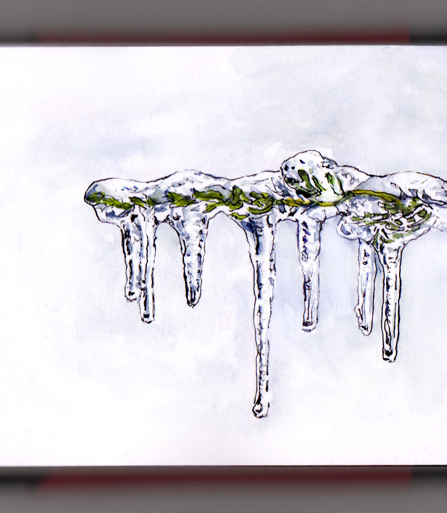 banner free library Trapped in an ice. Icicle drawing realistic